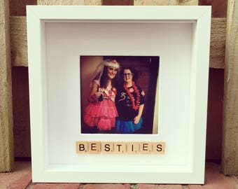 Scrabble bestie box photo frame - personalised with scrabble tiles