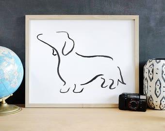Daschund Art Print, Daschund Line Art, Daschund Gift, Wiener Dog Art Print, Sausage Dog, Minimalist Art, Modern Line Drawing, Dog Lover Gift