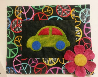"""Small Wall Hanging KIT -- """"Groovy"""" -- wool and cotton"""