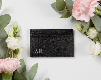 NEW! Pebble Leather Cardholder Black