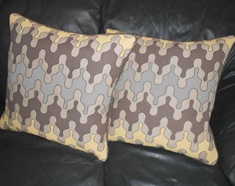 VERVAIN Throw pillows embroidered fabric ISHTAR contemporary design Custom PAIR