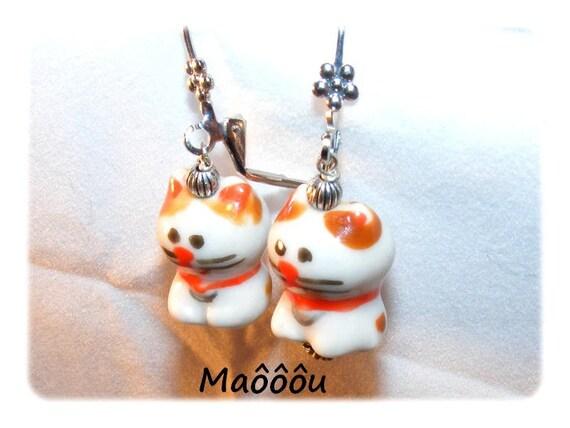 Kind of Designer [Maooou] white/Brown earrings