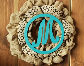 Deep Sea Blue Monogram Burlap Wreath