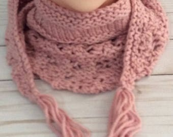 Knit Triangle Scarf, Pink Triangle Scarf, Triangle Knit Scarf, Knit Scarf, Lacy Scarf, Triangle Scarf, Handmade Gift, Gift for Her, Scarves