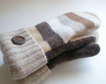 Wool Mittens Felted Recycled Sweaters Fleece-lined Warm Cozy Multi-toned Brown and Cream Striped Mittens