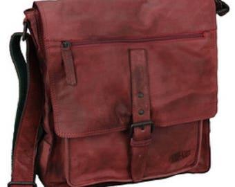 Leather shoulder bag, red