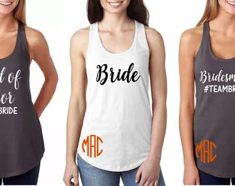 Monogram #teambride bridal party tank tops.  Bachelorette tank tops.
