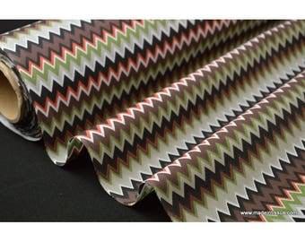 Tissu popeline coton imprimé EDALI zig zag  x50cm