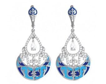 Chandelier Enamel plique-a-jour earrings