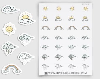 Weather Stickers for ECLP, Plum Paper, Scrapbooking, planner stickers, rainbow stickers, sun stickers, weather reminder, rainy day (ITM-081)