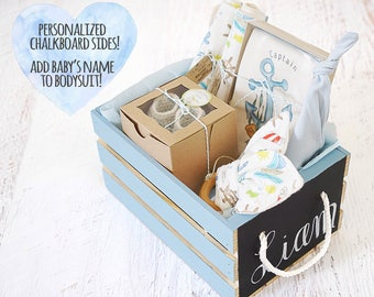 Nautical baby gift etsy baby boy gift basket personalize baby name organic baby gift basket baby anchors negle Images