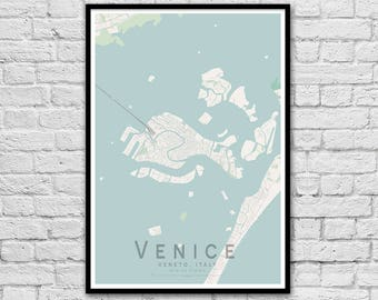 VENICE Italy  Street Map Print | Wall Art Poster | Wall decor | A3 A2