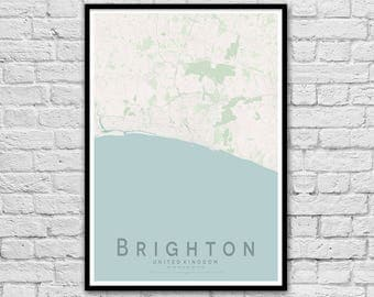 BRIGHTON, England City Street Map Print | Seaside Print | Travel Poster | Wall Art Poster | Wall decor | A3 A2 | Valentine's Day Gift Idea