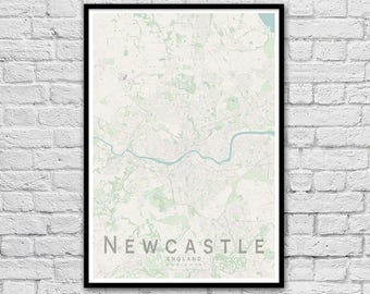 NEWCASTLE, England City Street Map Print | Travel Wall Art | Travel Poster | Wall decor | A3 A2 | Gift for Couple | Housewarming Gift