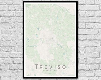 TREVISO Italy Street Map Print | Unique Wedding Gift | Greek Islands Wall Art Poster | Anniversary Gift | Wall decor | A3 A2