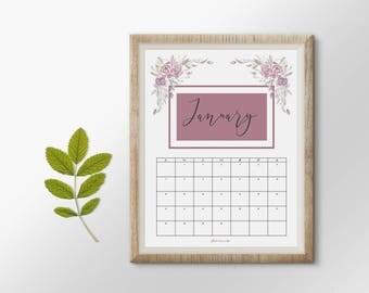 Printable floral calendar, floral calendar, kalendar 2018, 12 month calendar, watercolor calendar