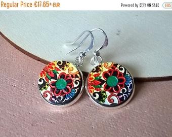 20% OFF SUMMER SALE Boho earrings, painted wood earrings, boho jewelry, tribal earrings, Indie earrings, textured wood earrings, ethnic earr