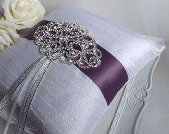 Silk Ring Pillow, Ring Bearer Pillow, Purple Silk Ring Pillow, Wedding Ring Pillow, Elegant Ring Pillow, Silver Ring Cushion