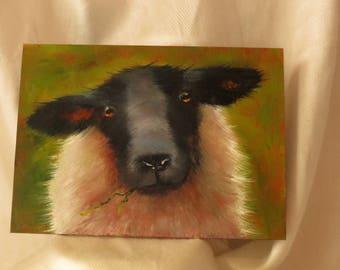 Sheep painting, lamb in light