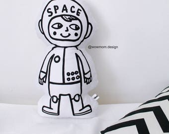 Astronaut Boy Space Boy Hand Printed Organic Cushion Pillow Kids Nursery Home Decor Monochrome