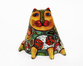 Cat Sculpture Miniature Ceramic, Ceramic Figurines, collectible figures, gifts for cat lovers, ceramic figurines on order