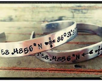 GPS Coordinates Stamped Cuff Bracelet - Customize Your Cuff - GPS//Lat/Long//Symbols - Personalize Inside/Outside - Couples/Friend/Family
