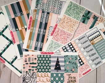 Christmas Chic ECLP Happy Planner Inkwell Press Weekly Kit Stickers Check Lists Daily Boxes Washi Strips