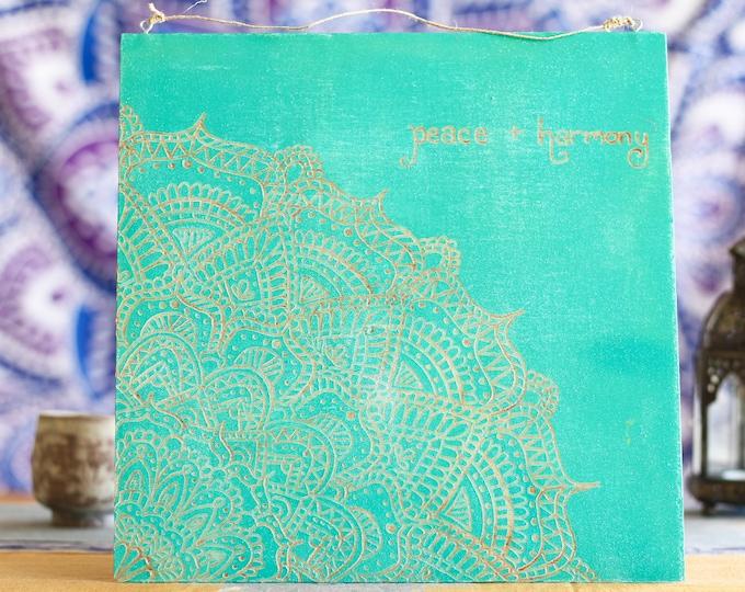 "12x12 Hand Carved Wood Mandala Wall Hanging - ""Peace + Harmony"""