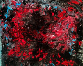 Dragons Den - Square Fluid Acrylic Painting