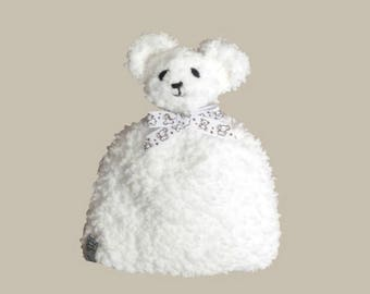 baby white fur hat and Pompom bear (0 - 1-3-6 m)