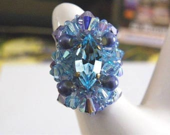 Crystal ring cabochon navette Swarovski aquamarine blue purple magic glass beads