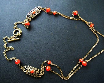 Necklace spacer filigrames, bronze and Red Crystal