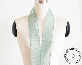 "Lace Trim - Candlewick Scalloped Lace - Mint Green (2.5"")"