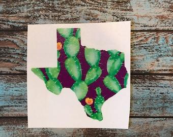 Cactus Pattern Texas Decal Sticker | Cactus Texas | Texas Cactus | Yeti Decal | Car Decal | Laptop Decal