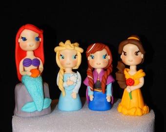 Princess Ariel Belle Anna Elsa Fondant Cake Toppers Set of 4
