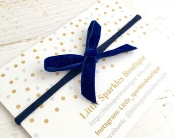 Blue hair bow, blue velvet bow, tie bow, baby bow, girls hair bow,