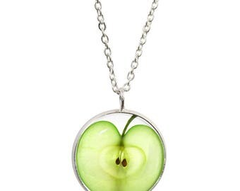 Green Apple Pendant and Silver Plated Necklace