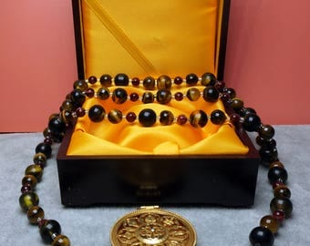 Tiger Eyes Necklace with Manjushri Pendant