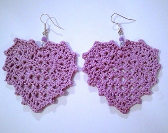 Lilac crochet hearts earrings