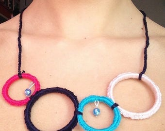 Recycled crochet Circles necklace