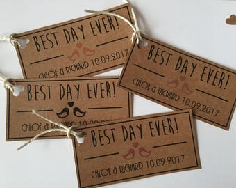 Best Day Ever Wedding favor gift tags - Custom Made