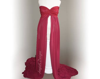 BURGUNDY Butterfly Flowy Chiffon Photo Session Gown/Sweetheart Top/LongTrain/Maternity Dress/GownPregnancy Photo Prop/Baby Shower