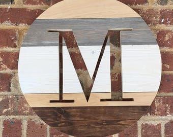 Monogrammed Round Wall Art- 16.5 inch Diameter