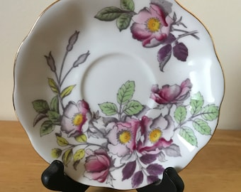 """Royal Albert Bone China* Flower Of The Month Series*# 6 *Dog Rose* Replacement Saucer* 5.5"""" D** England"""