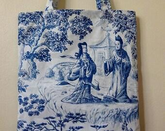 Shopping tote bag - Toile de Jouy style cotton - Navy motif on white