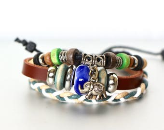 Genuine Leather Bracelet, Blue Bead Bracelet, Elephant Charm Bracelet Adjustable Bracelet, Unisex Jewelry, Bohemian Jewelry, Bracelet,LB69