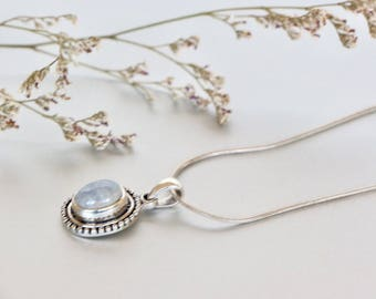 Serene Moonstone Pendant, Sterling Silver Pendant, Silver Chain Necklace, Silver Charm, Delicate Pendant, Gifts For Her,(P105)