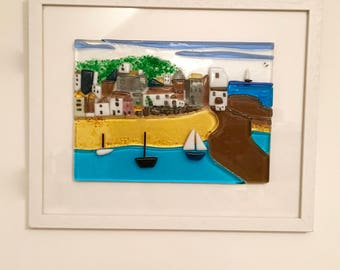 Framed Fused Glass Picture of St Ives Cornwall