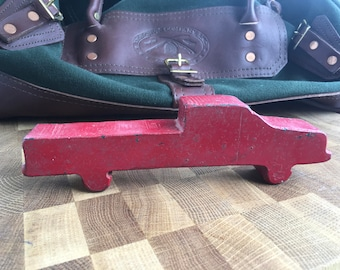 Vintage Folk Art Red Pickup Truck Cut From Metal Bar Stock Hand Made Man Bench Work Folk Art