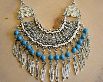 Statement Necklaces / Bohemian Jewellery / Boho Jewelry / Chunky Necklace / Feather Necklace / Silver Bib Necklace / Turquoise Necklace